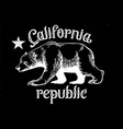 california republic bear in dirty texture style vector image