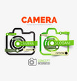 Camera linear style icons 3d cut out
