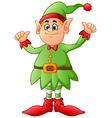cartoon elf giving two thumbs up vector image vector image