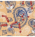 Cartoon pattern with birds beads and Paisley vector image