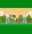 cartoon soccer goalkeeper on soccer field vector image