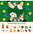 Casino Icons Collection Flat Composition vector image vector image