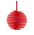 christmas ball made of red ribbon isolated on whit vector image vector image