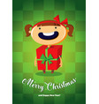 christmas card with girl in gift costume vector image vector image