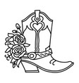 cowboy boot and roses decoration outline vector image