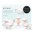 Cute animal family background with Sheep 3 vector image