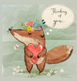 cute fox with heart vector image vector image