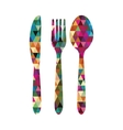 cutlery triangle mosaic icon image vector image vector image