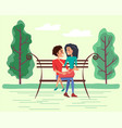 dating couple on bench in summer time vector image vector image