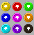 Dislike Thumb down icon sign symbol on nine round