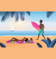 family summer tourism travel vacation on tropical vector image vector image