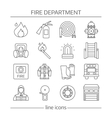 Fire Department Linear Icons Set vector image vector image