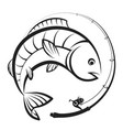 fishing rod with reel and fish vector image vector image