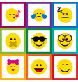 flat icon expression set of caress pleasant vector image vector image