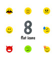Flat icon face set of frown joy cross-eyed face