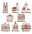 german famous landmarks set in hand drawn style vector image