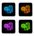 glowing neon power bank with charge cable and vector image vector image