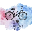 hand drawn bicycle on watercolor background vector image