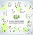 hand drawn farm animals background farming vector image vector image