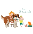 Happy little girl and boy hugging dog vector image vector image