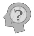 head silhouette with question mark inside icon vector image