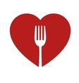 heart and fork sign healthy food icon vector image vector image