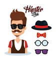 hipster style avatar with accessories vector image