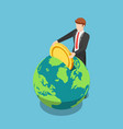isometric businessman put golden coin into the vector image vector image