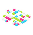 isometric colorful plastic construction details vector image