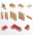 Isometric wooden furniture for living room vector image