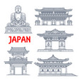 japanese travel landmark thin line pagoda statue vector image vector image