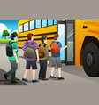 kids getting on the school bus vector image
