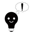 lightbulb emoticon silhouette vector image vector image