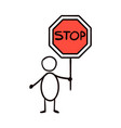 man holding a traffic sign stop vector image vector image