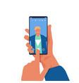 man taking selfie on phone cartoon character vector image