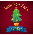 Merry Christmas and Happy New Year Tree Card vector image vector image