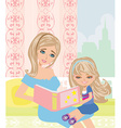 mom reading a book to her kid vector image vector image