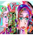 original abstract digital painting of human face vector image