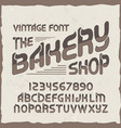 original label typeface named the bakery shop vector image