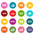 railway carriage icons set colorful circles vector image vector image