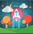rocket cartoon paper landscape vector image vector image