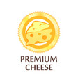 round emblem with swiss cheese premium quality vector image vector image