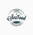 seafood round logo sea food lettering on white vector image vector image