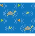 Seamless pattern with funny swiming turtles vector image vector image