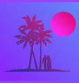 silhouette walking couple on beach in flat icon vector image vector image
