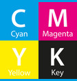 simple cmyk color sample with color name vector image vector image