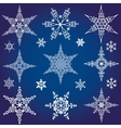 Snowflakes icon collectionWinter crystal star vector image