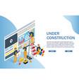 under construction website page web banner vector image