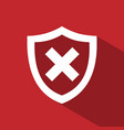 unprotected shield icon with shade on a red vector image vector image
