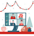 video conference with people group in winter vector image vector image
